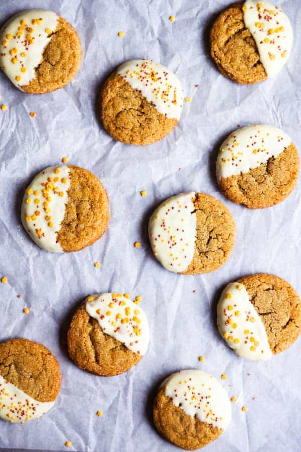 chewy gingersnap cookies on parchment paper