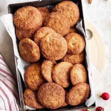 black metal pan filled with snickerdoodle cookies