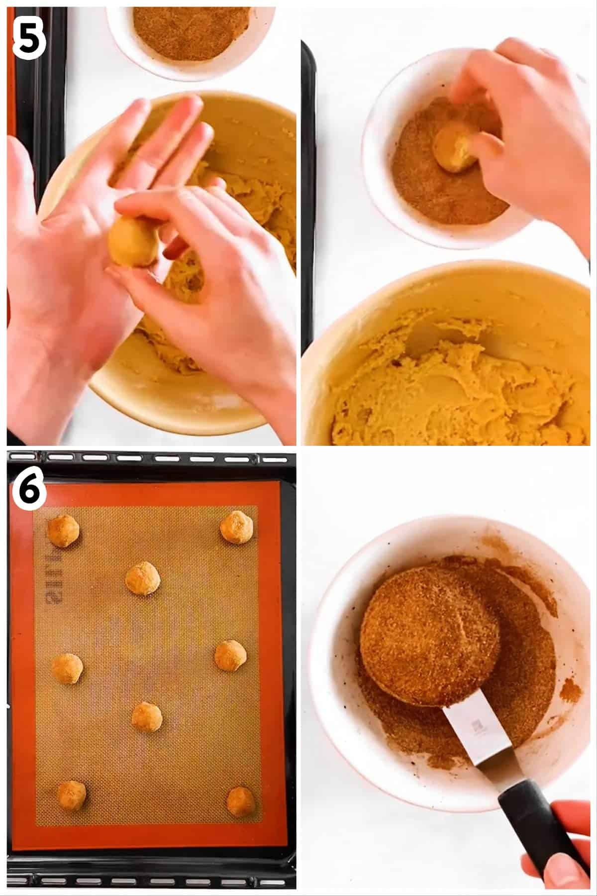collage of photos to show how to roll and bake snickerdoodle cookies