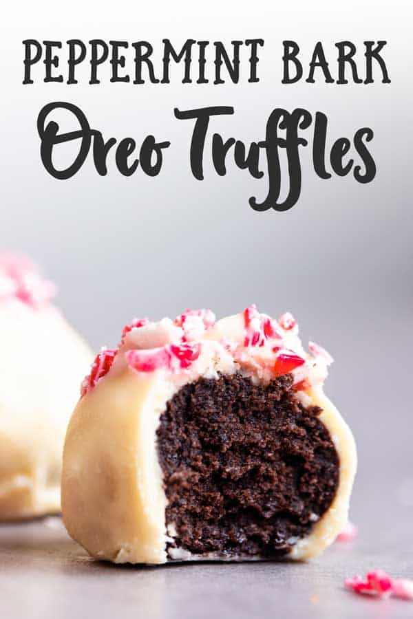 peppermint oreo truffle with a bite taken out and text overlay