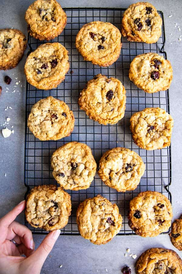 cooling rack with White Chocolate Cranberry Oatmeal Cookies