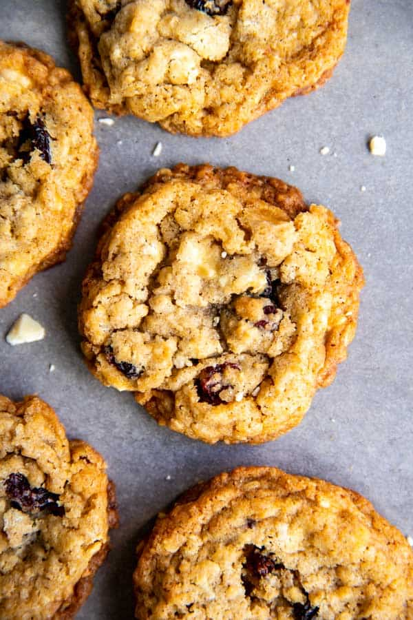 close up photo of White Chocolate Cranberry Oatmeal Cookies