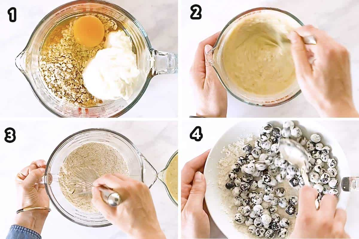collage of step by step photos to make blueberry oatmeal muffins (1)