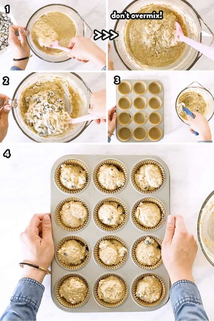 collage of step by step photos to make blueberry oatmeal muffins (2)