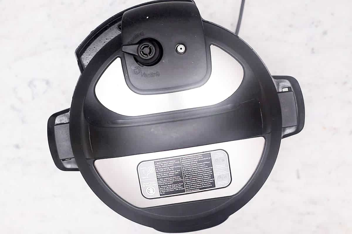 overhead view of closed instant pot