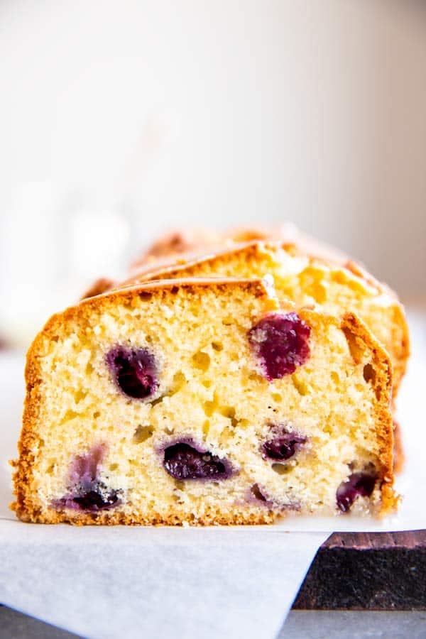 slice of lemon blueberry bread