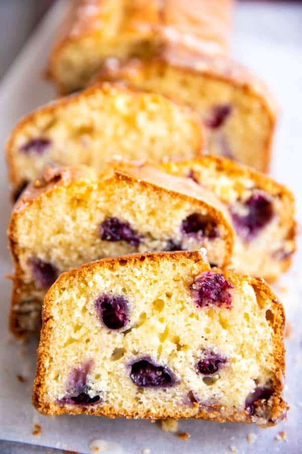 sliced loaf of lemon blueberry bread