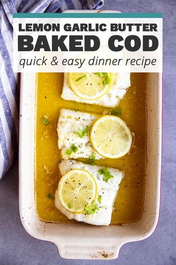 Garlic Butter Lemon Baked Cod Image Pin 2