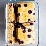 glass box with sheet pan blueberry pancakes
