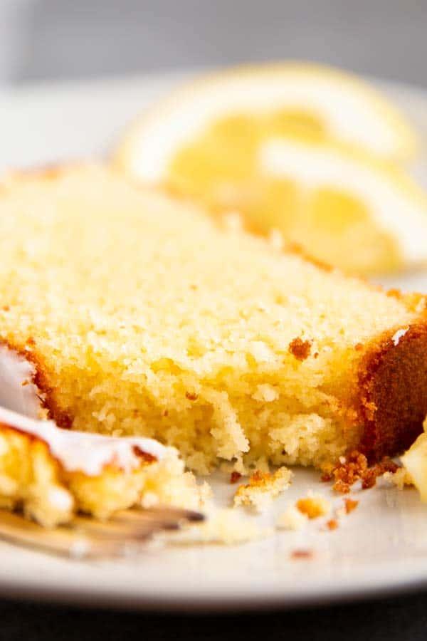 slice of lemon pound cake on a plate