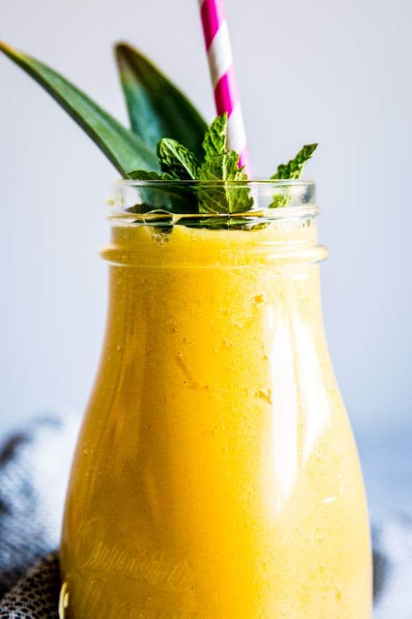 close up photo of pineapple mango smoothie