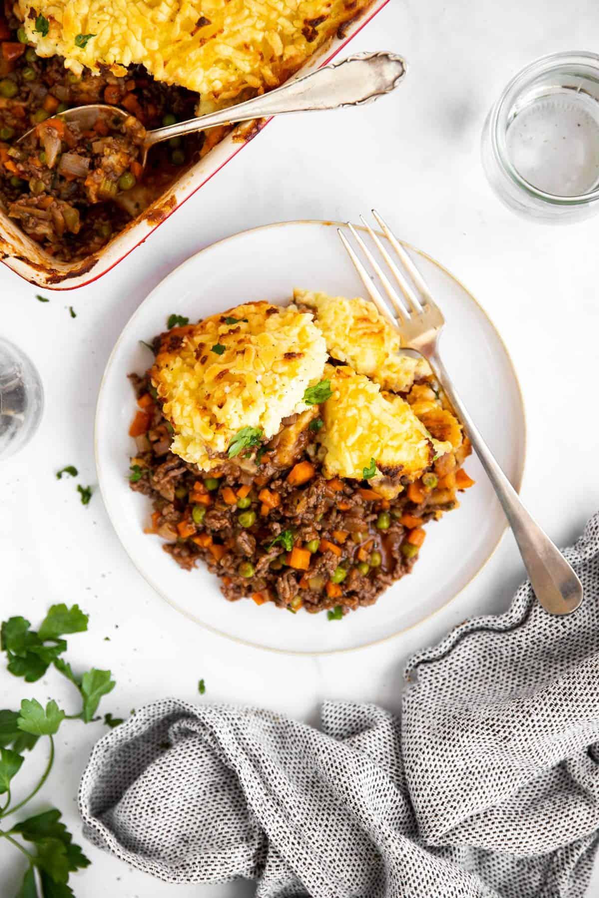 plate with shepherd's pie