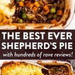 photo collage of shepherd's pie with text overlay