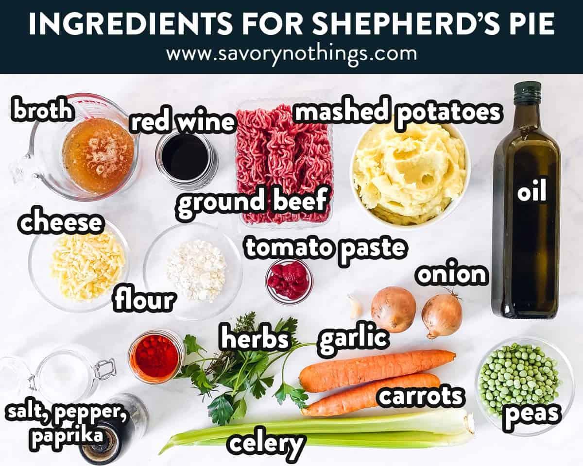 photo of shepherd's pie ingredients with labels