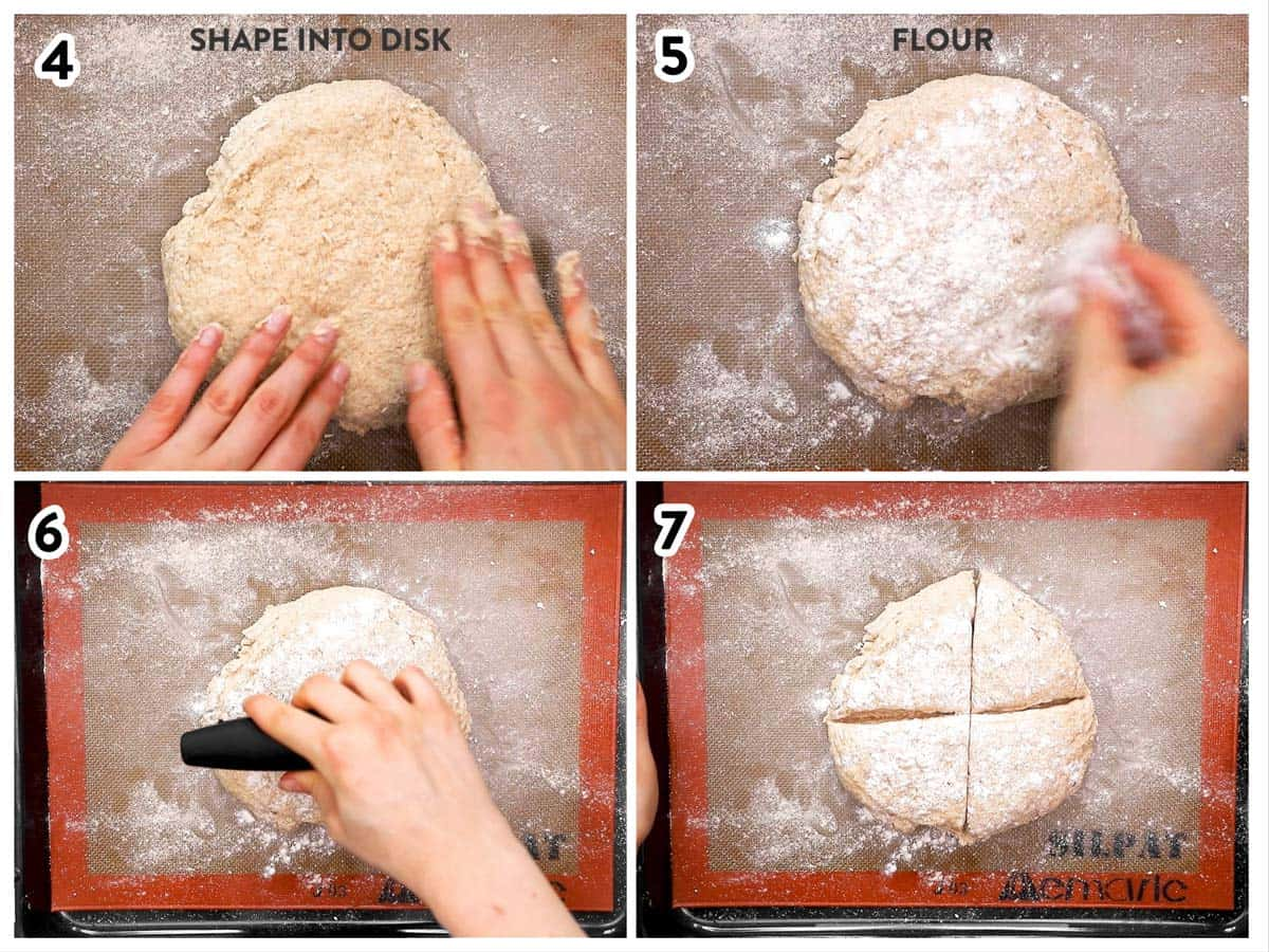 photo collage to show how to shape Irish soda bread