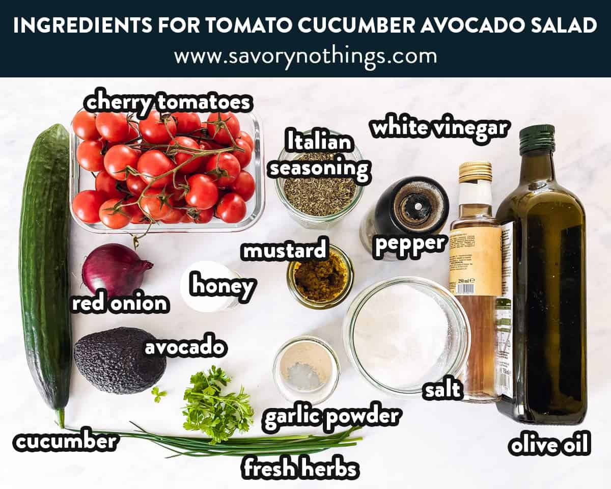 ingredients for cucumber tomato avocado salad with text labels