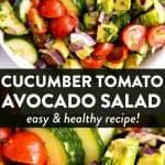 Cucumber Tomato Avocado Salad Pin 4