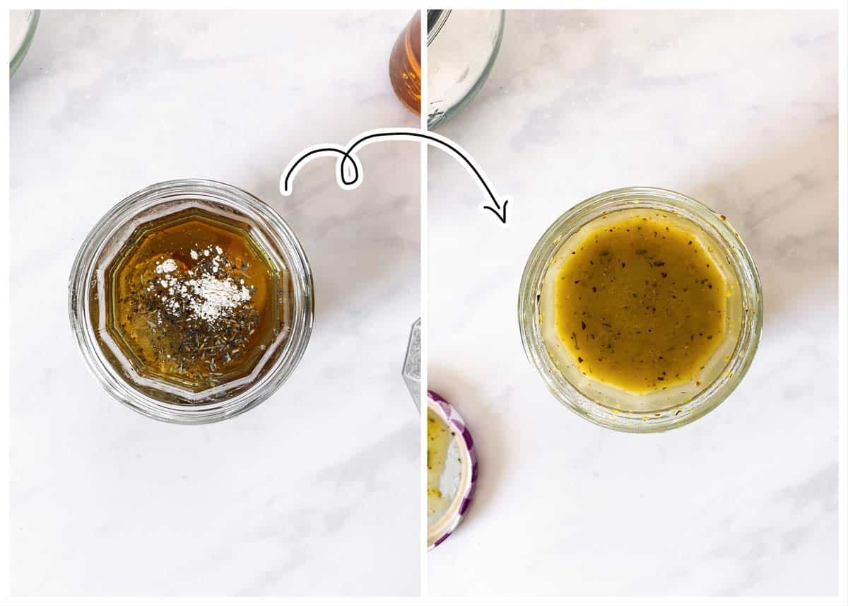 photo collage to show how to turn salad dressing ingredients into dressing