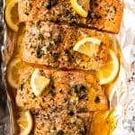 baked salmon on foil lined baking pan