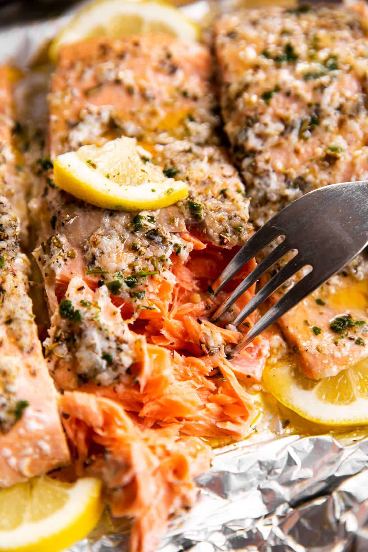 close up of flaked salmon with fork