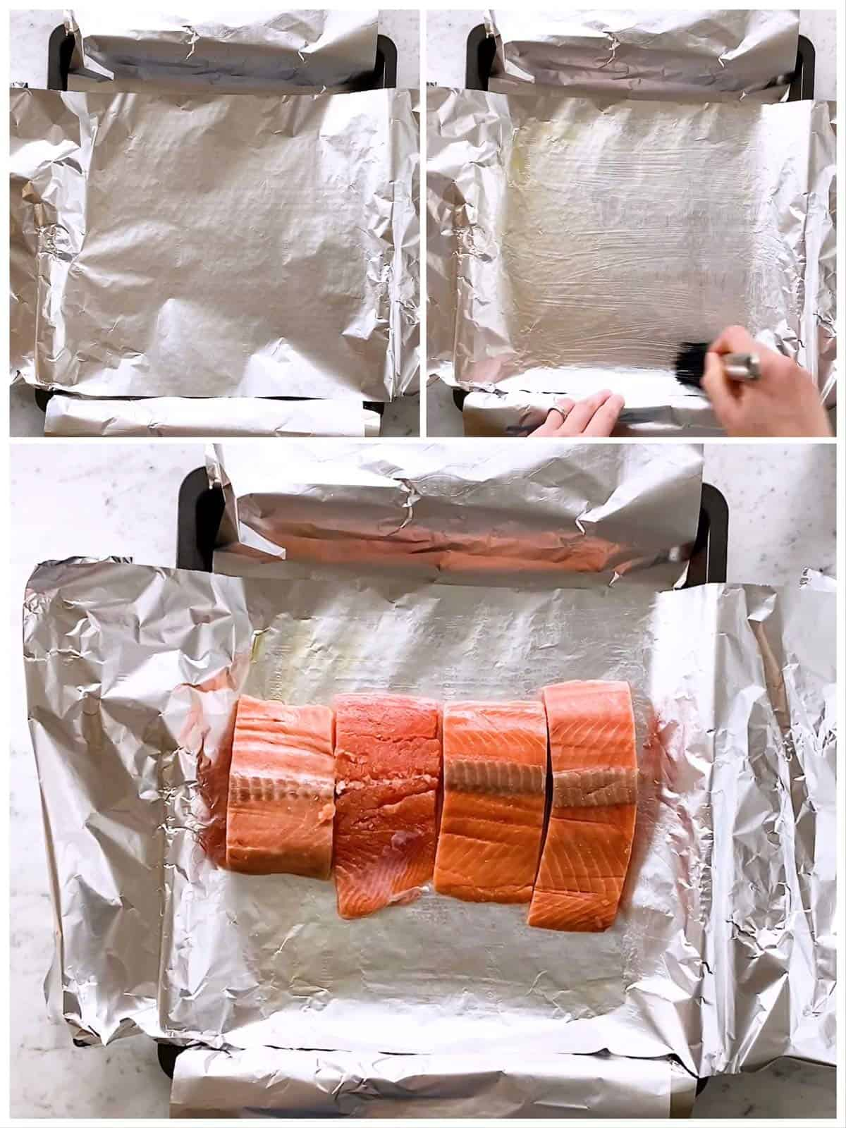 photo collage to show how to prepare a pan to bake salmon