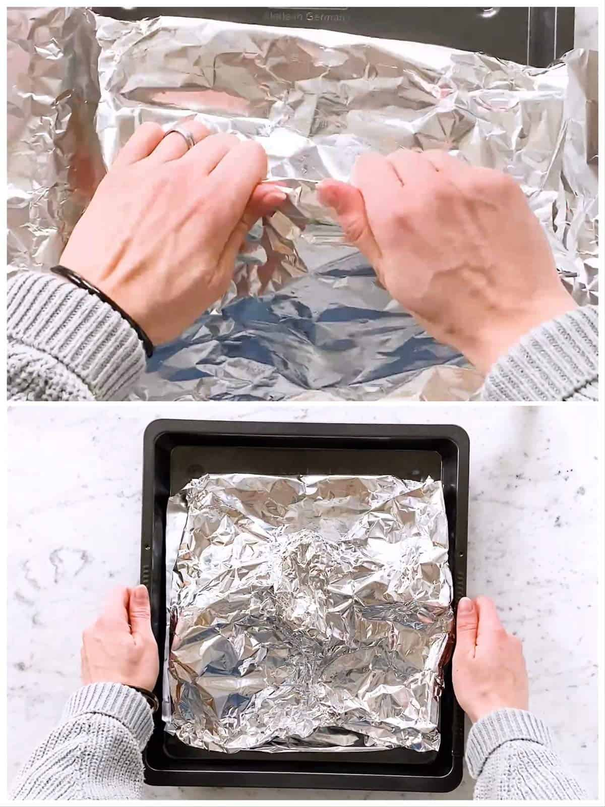photo collage to show how to seal foil over salmon