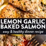 Lemon Garlic Butter Baked Salmon Pin 1