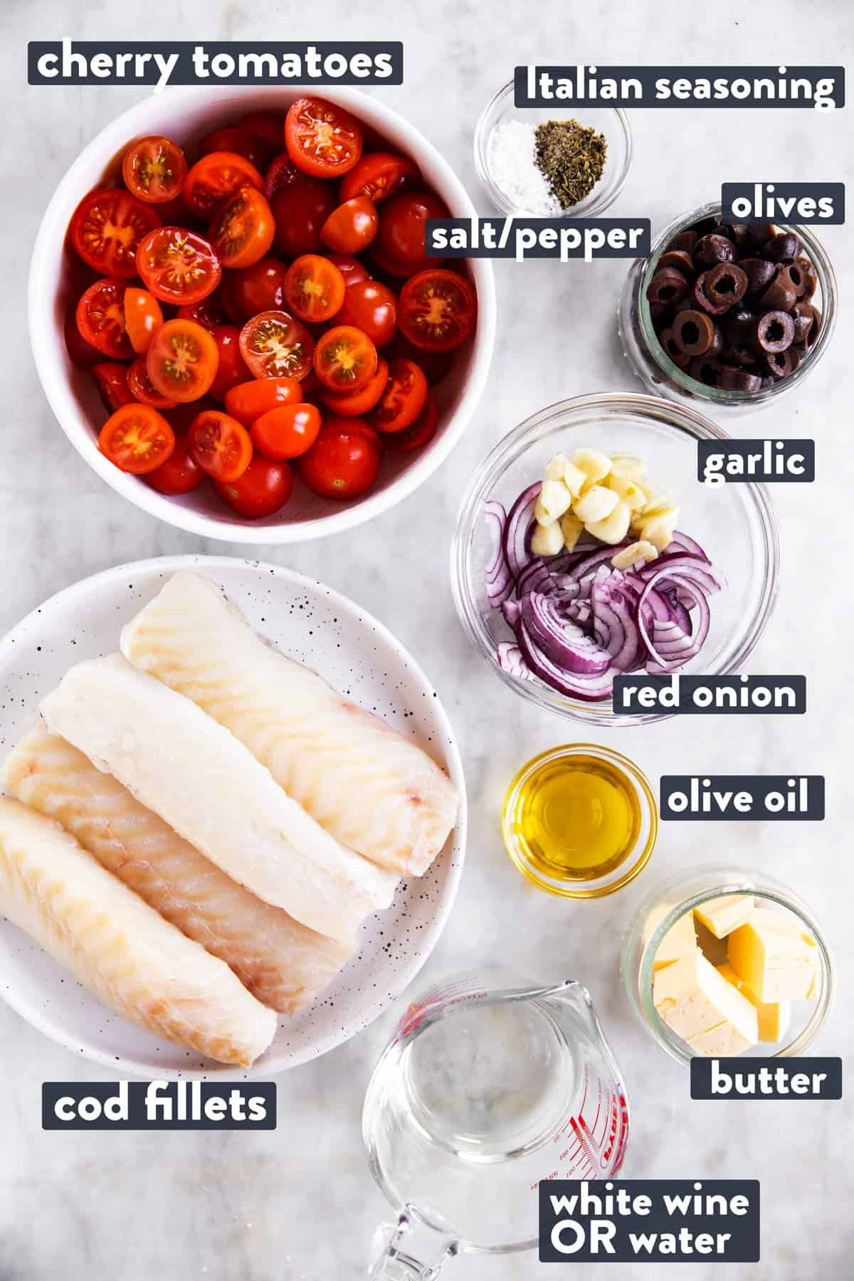 ingredients for mediterranean baked cod with text labels