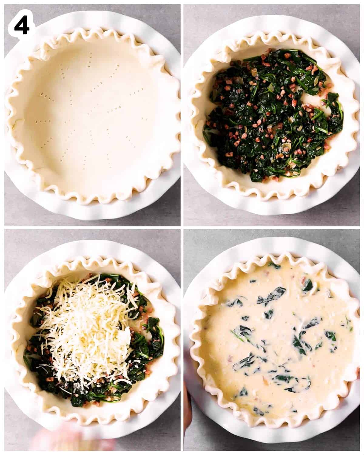 photo collage to show how to assemble a spinach bacon quiche