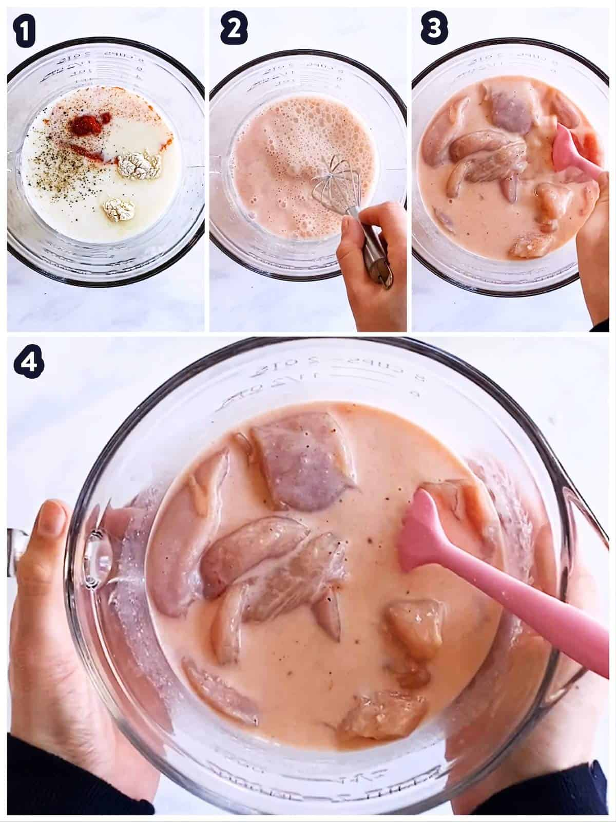 collage to show how to marinate chicken in buttermilk
