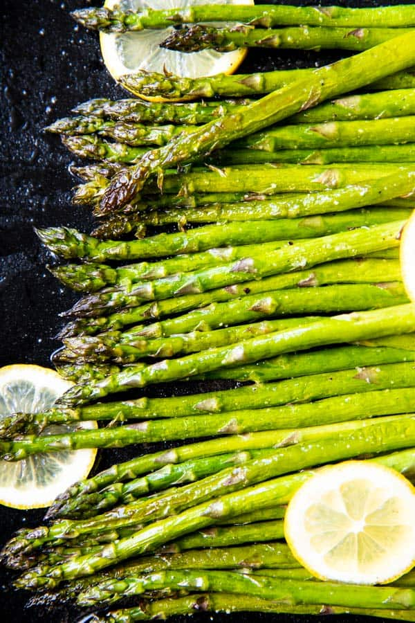 sheet pan with roasted asparagus