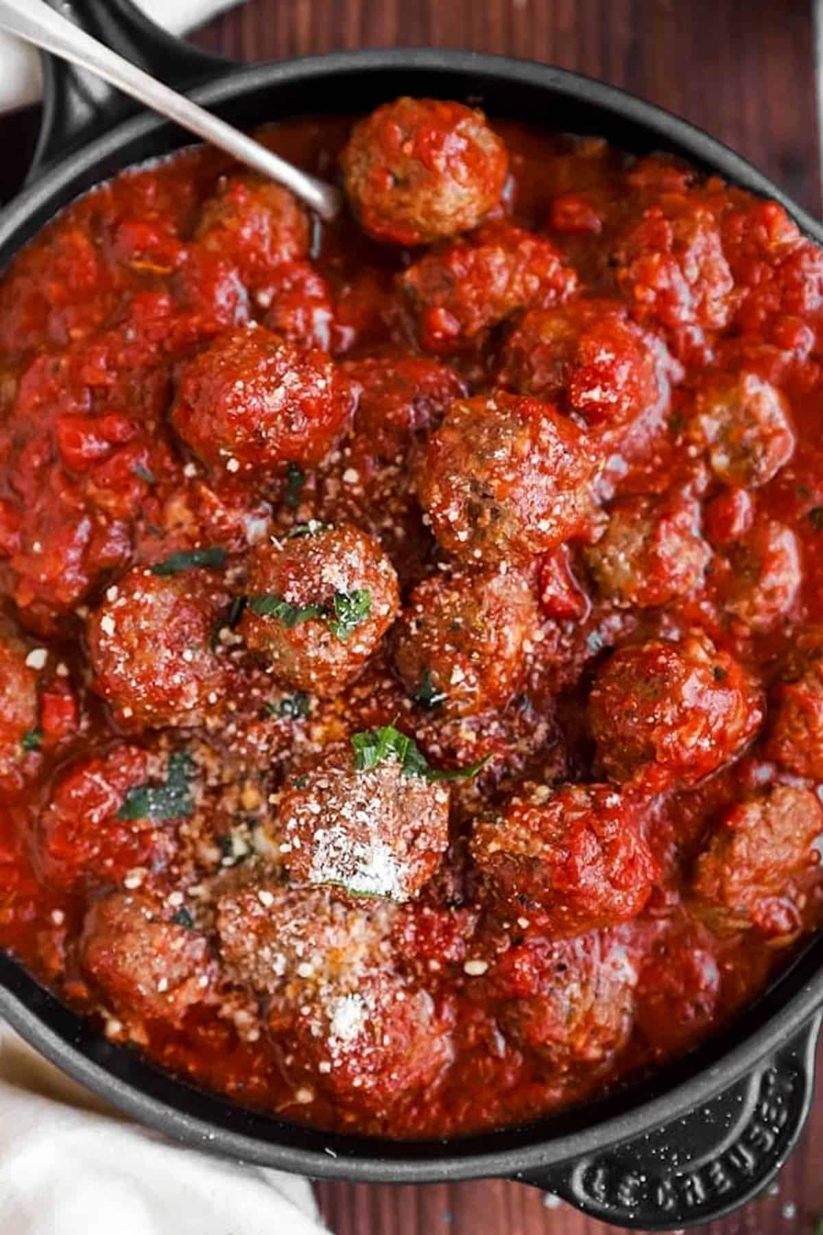 Italian meatballs in cast iron skillet