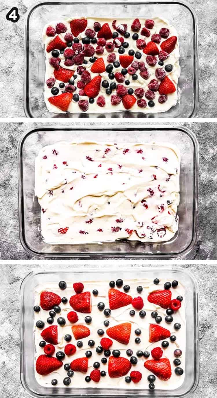 collage of images showing how to layer an icebox cake
