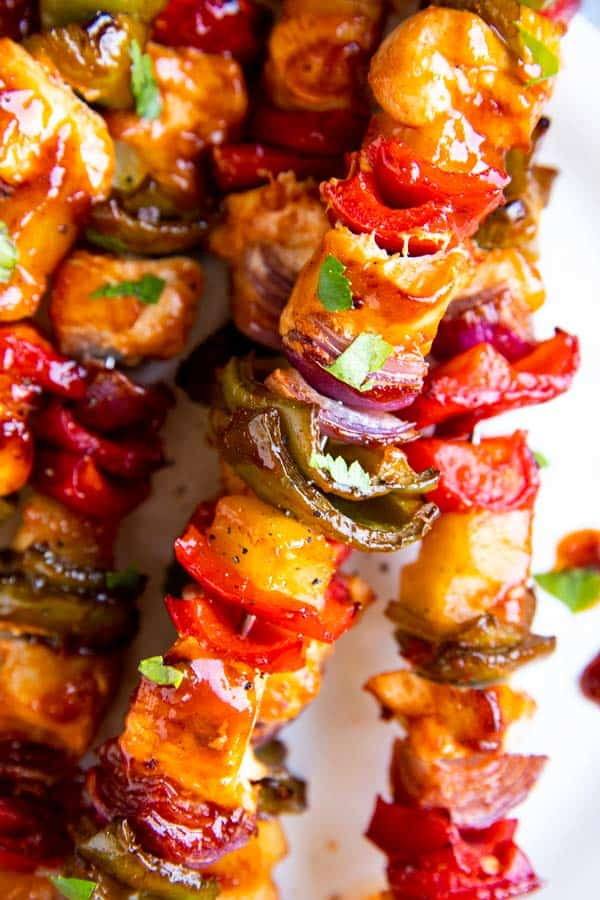 close up photo of pineapple bbq chicken kabobs
