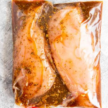 ziptop bag with balsamic marinated chicken