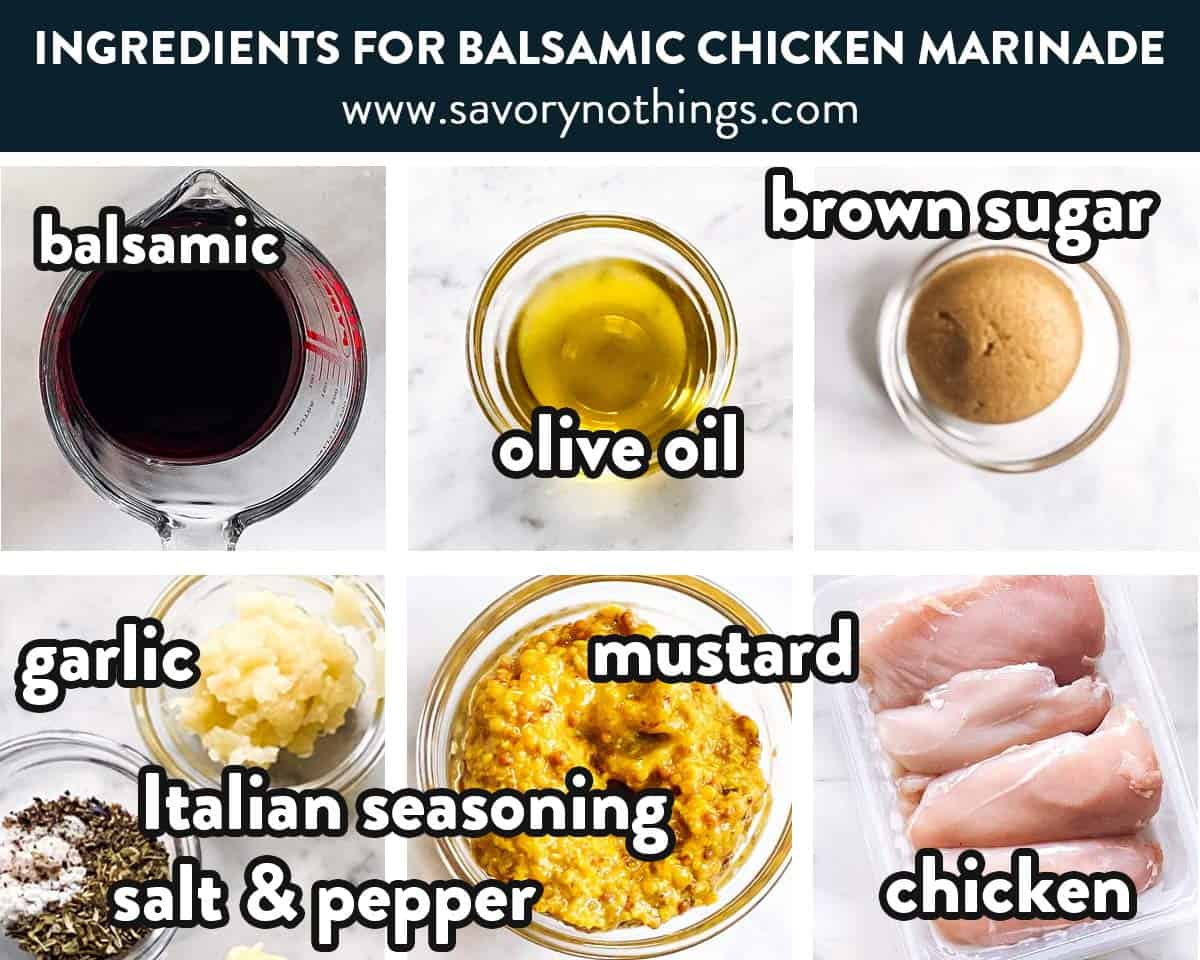 ingredients for balsamic chicken marinade with text labels