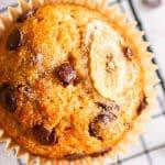close up photo of a chocolate chip banana muffin