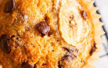 close up photo of a chocolate chip banana muffin