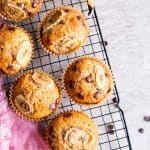 cooling rack with chocolate chip banana muffins