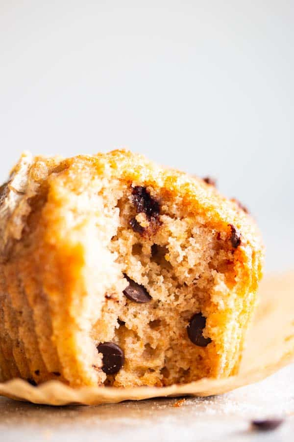 close up of the inside of a chocolate chip banana muffin
