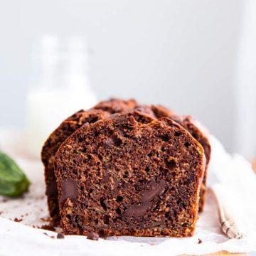 chocolate zucchini bread on a wooden board