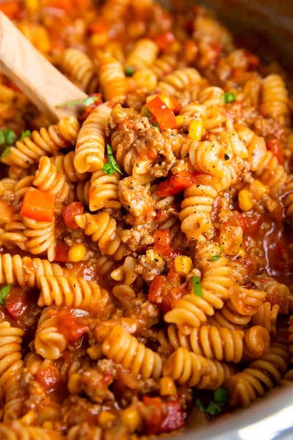 close up photo of one pot cheesy taco pasta