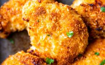 close up photo of crispy oven fried coconut chicken