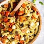 large bowl with pesto pasta salad