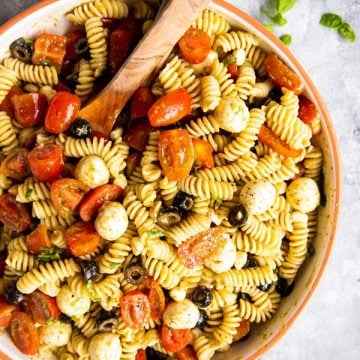 large bowl with pesto pasta salad