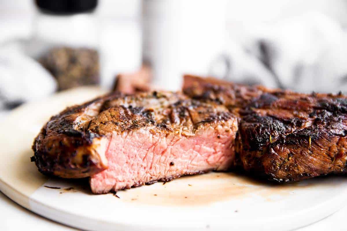 close up of sliced open steak