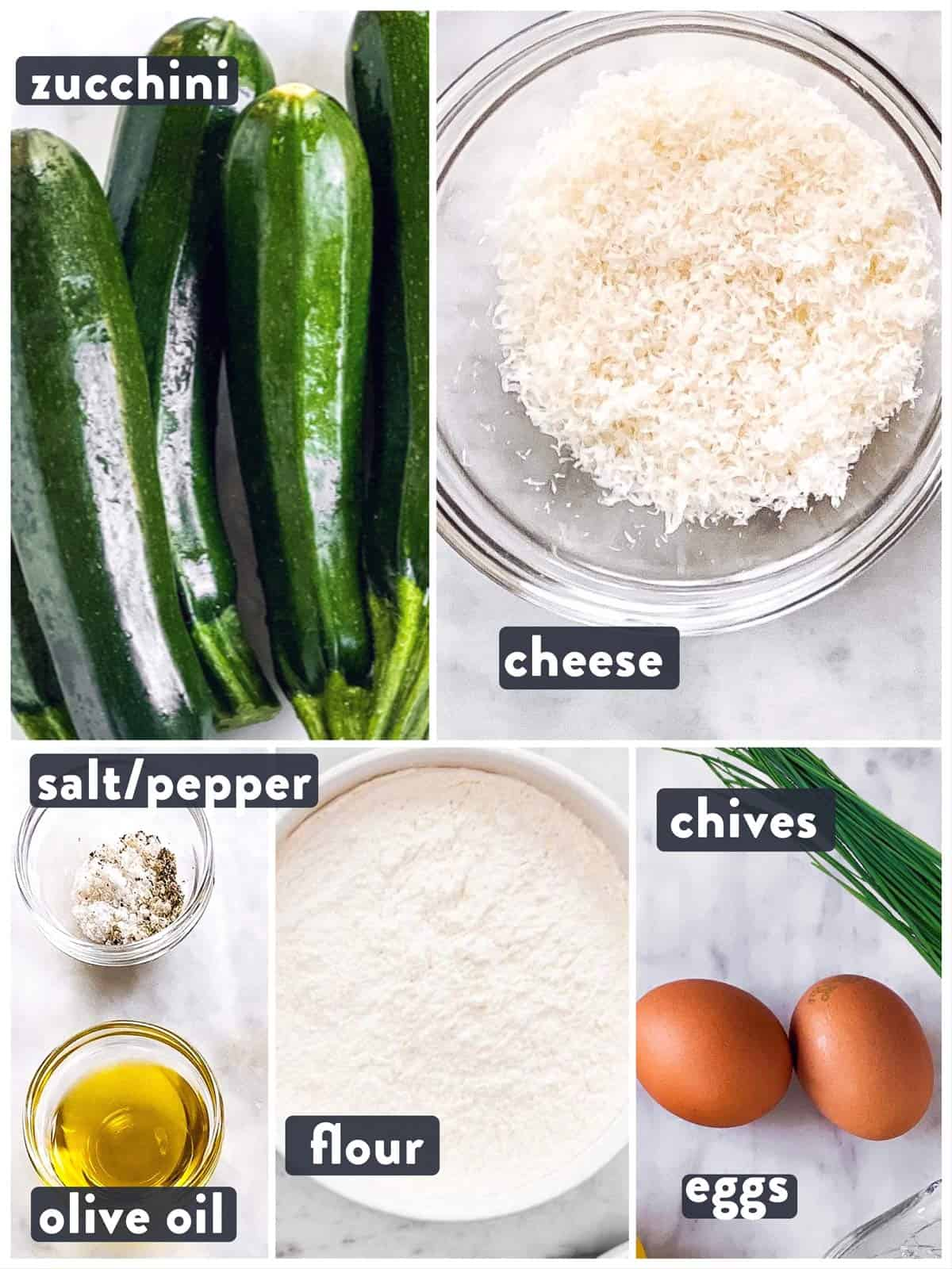ingredients for zucchini fritters with text labels