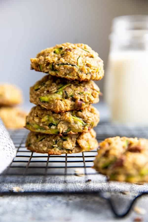 stack of zucchini oatmeal breakfast cookies