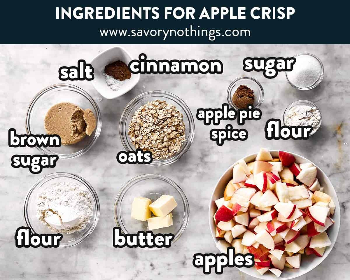 ingredients for apple crisp with text labels
