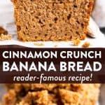Cinnamon Crunch Banana Bread Image Pin